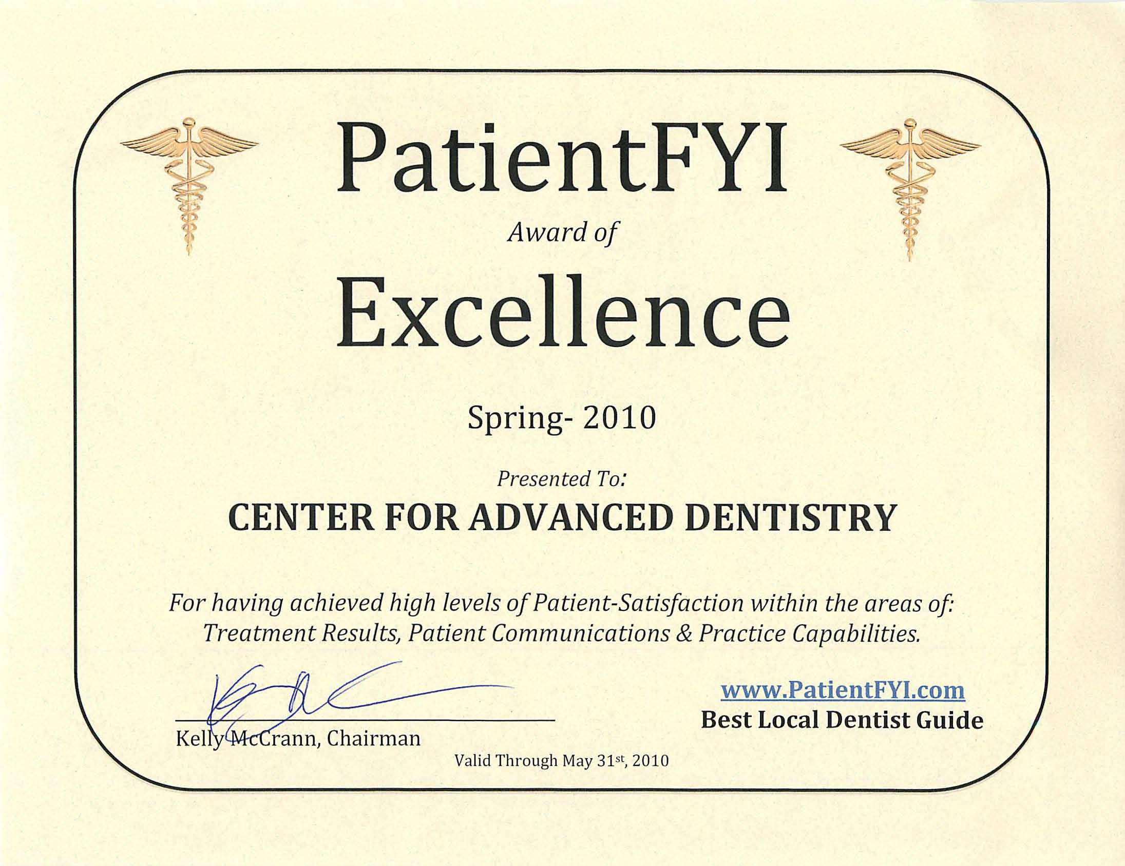 Center for advanced dentistry receives patientfyi award of dr ushma patel is a dentist in atlanta suwanee johns creek patient fyi award of excellence certificate thecheapjerseys Image collections